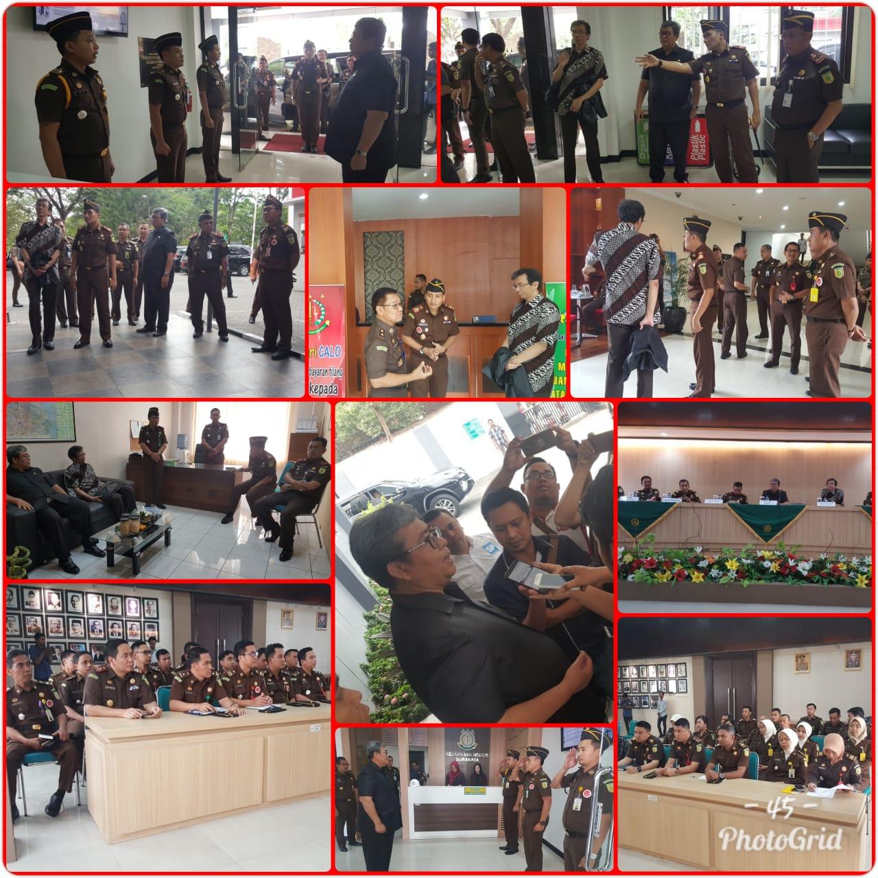 Kunjugan kerja dalam rangka evaluasi pelaksanaan pembangunan wilayah bebas korupsi WBK di Kejaksaan Negeri Surabaya 07-11-2018
