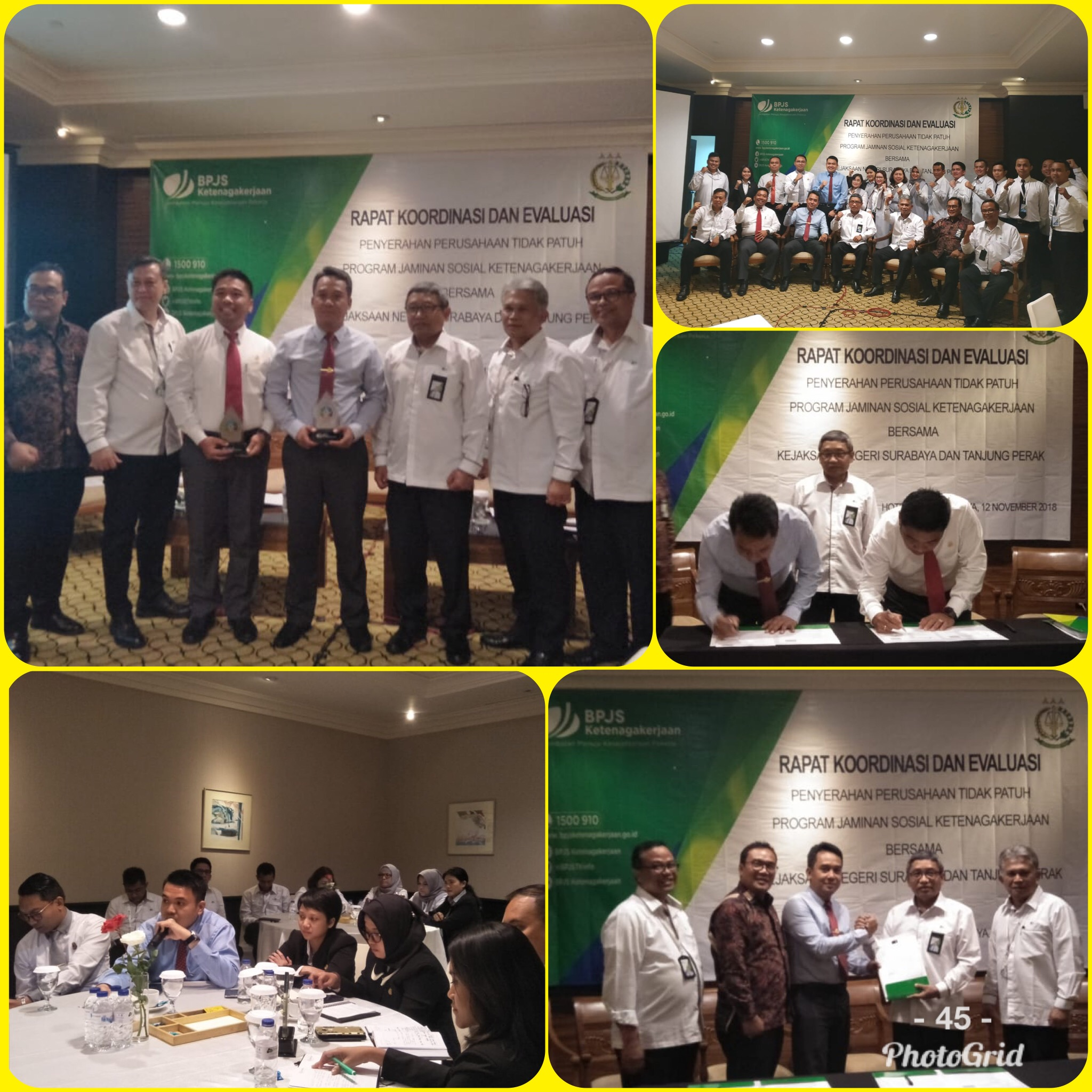 Rapat Koordinasi dan Evaluasi BPJS ketenagakerjaan Surabaya Raya 12-11-2018