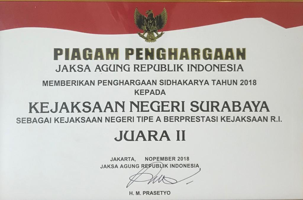 PIAGAM PENGHARGAAN JAKSA AGUNG REPUBLIK INDONESIA 30-11-2018