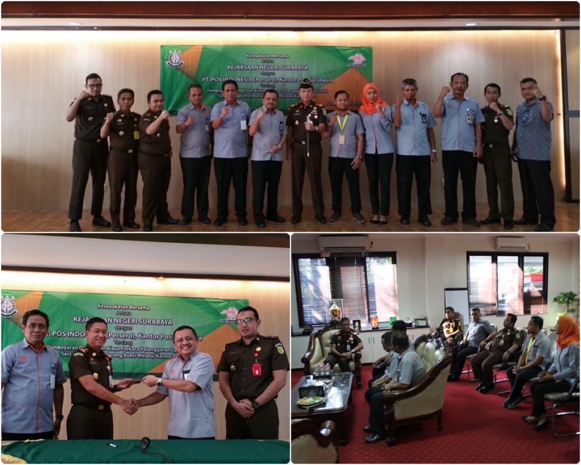 Kejaksaan Negeri Surabaya melaksanakan Kesepakatan bersama dengan Pihak PT POS indonesia Persero, Kantor Pos Indonesia 01-07-2019
