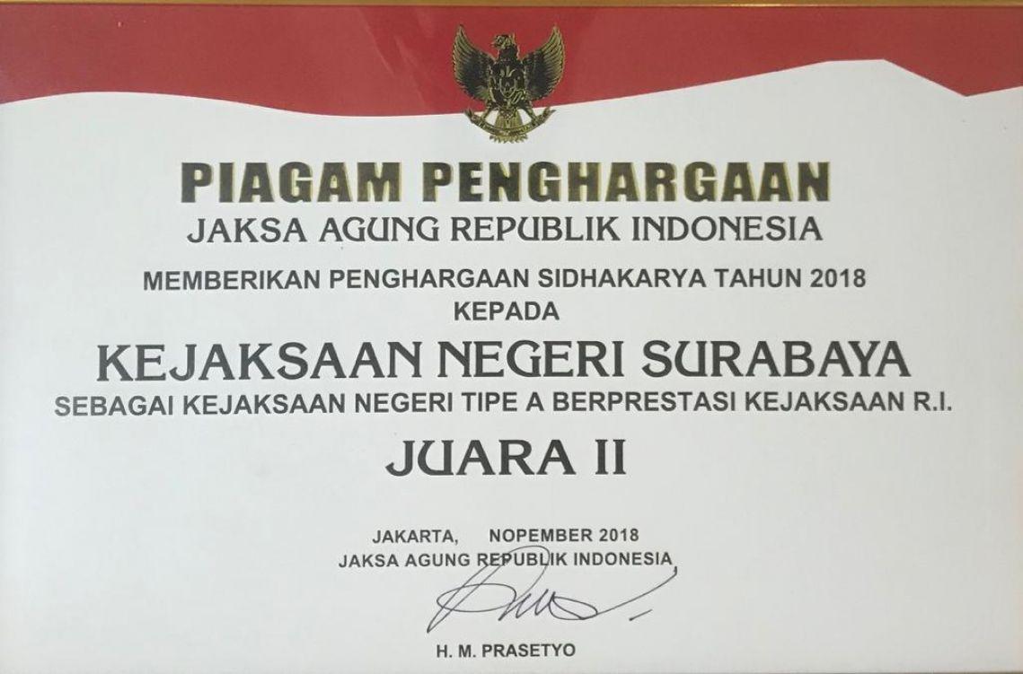 PIAGAM PENGHARGAAN JAKSA AGUNG REPUBLIK INDONESIA 30-12-2018