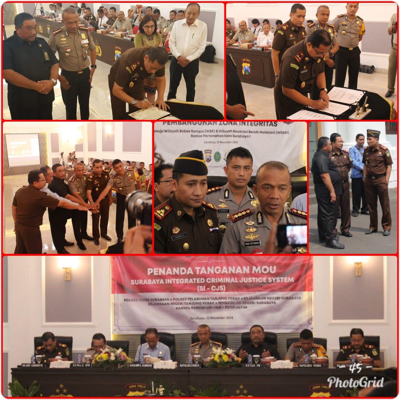 Penanda Tanganan MOU Surabaya Integrated Criminal Justice System SI-CJS 12-11-2018
