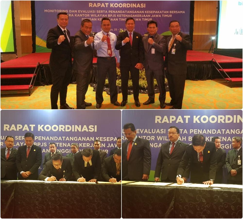Kepala Kejaksaan Negeri Surabaya menandatangani Nota Kesepakatan Bersama MoU dengan BPJS Ketenagakerjaan Surabaya 25-07-2019