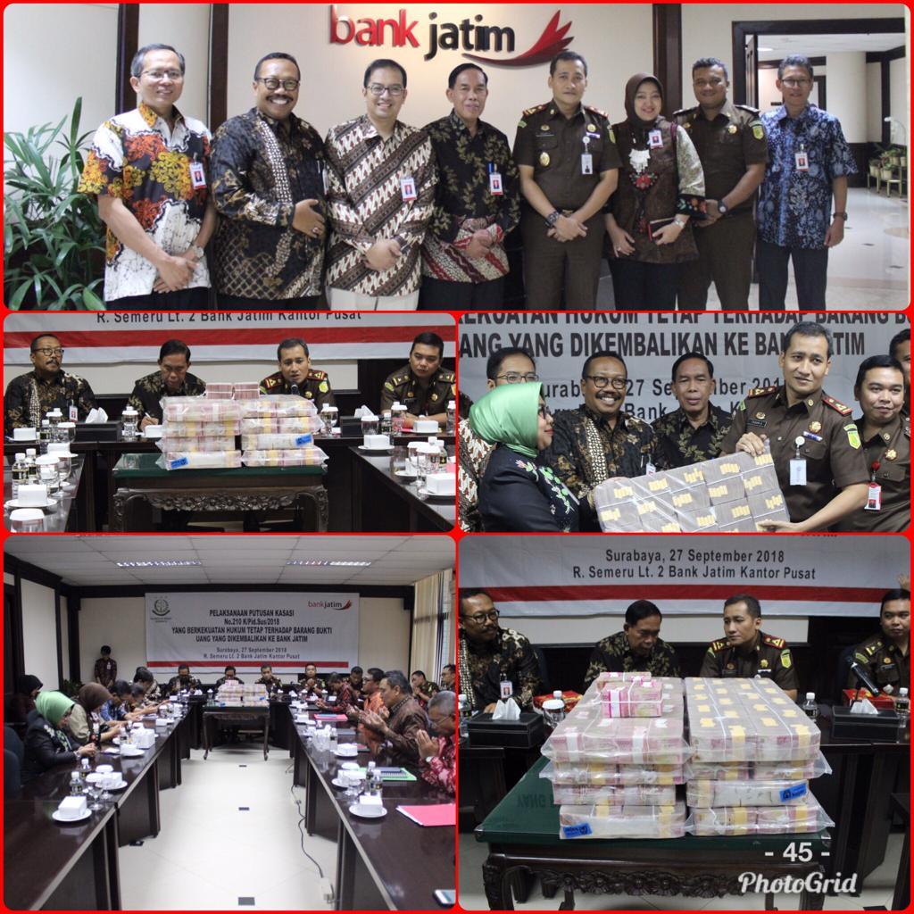 Pengembalian Barang Bukti Uang Rp. 8 Milyar ke Bank Jatim 27-09-2018