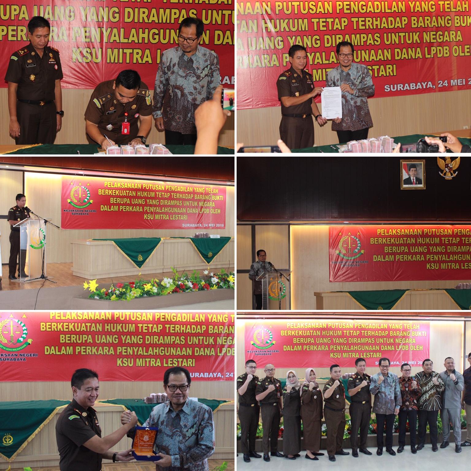Penyerahan Barang Bukti Berupa Uang oleh Kepala Kejaksaan Negeri Surabaya 24-05-2019