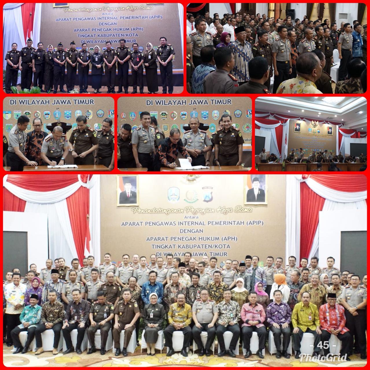 Kajari Surabaya dan Kajati Jatim Hadiri Penandatanganan Perjanjian Kerjasama di Grahadi 18-09-2018