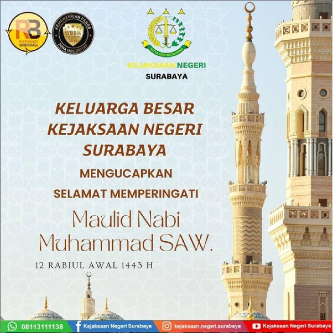 Keluarga Besar Kejaksaan Negeri Surabaya Mengucapkan Selamat Memperingati Maulid Nabi Muhammad SAW