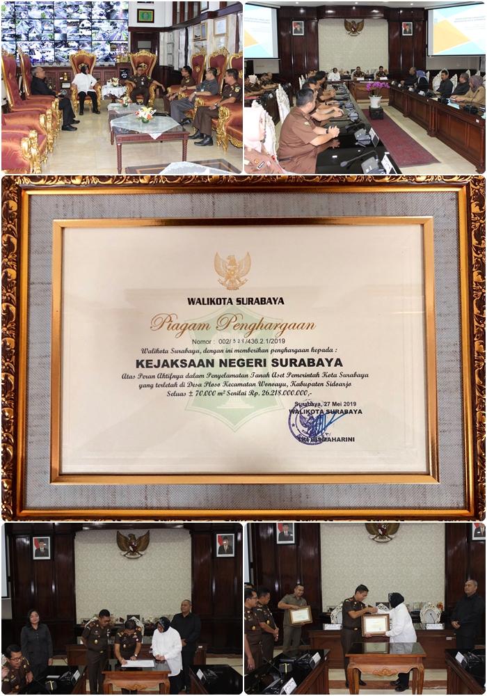 Penyerahan Piagam Penghargaan dari Walikota Surabaya 27-05-2019